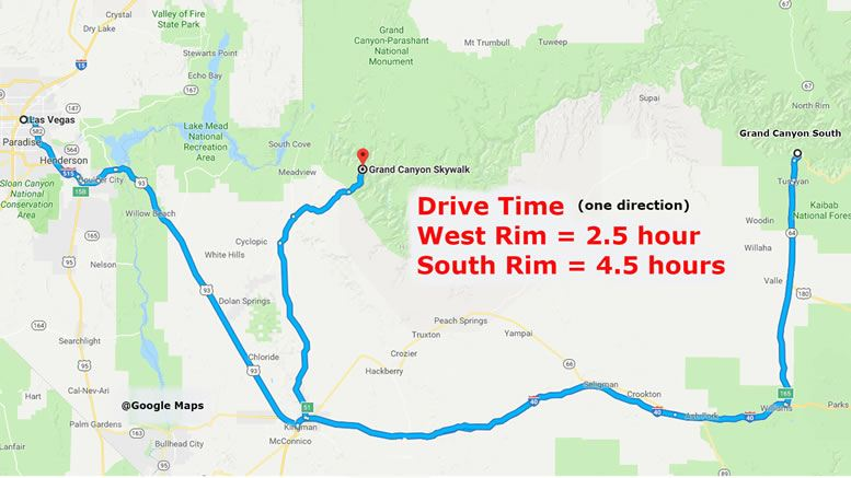 Las Vegas to Grand Canyon Distances