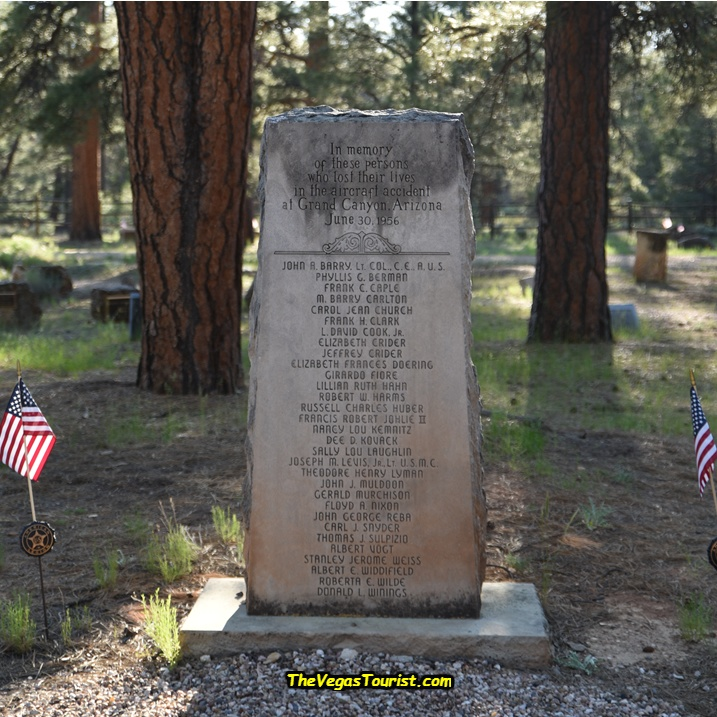 Twenty-nine unidentified victims of the United flight were interred in four coffins at the Grand Canyon Pioneer Cemetery