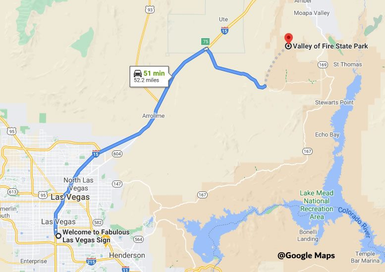 Map to Valley of Fire