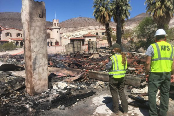 fire at Scotty's castle death valley